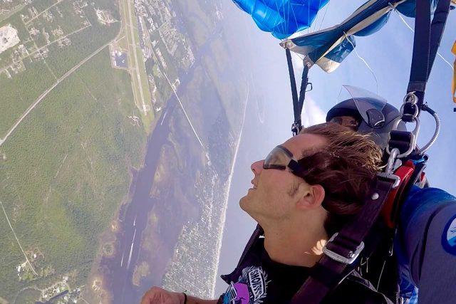 Tandem student and instructor enjoy a zippy canopy ride above Oak Island,NC