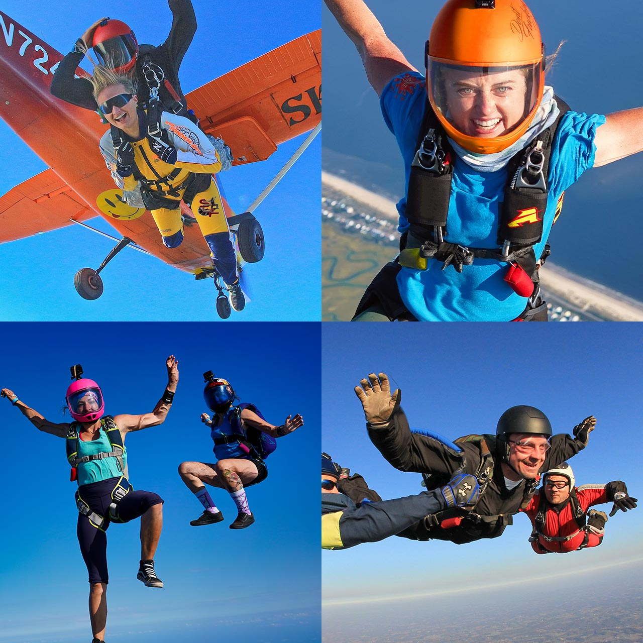 Grid image from top left to right of tandem skydiving instructor and student exiting plane, smiling female freeflying, accelerated freefall student, and two skydivers freeflying