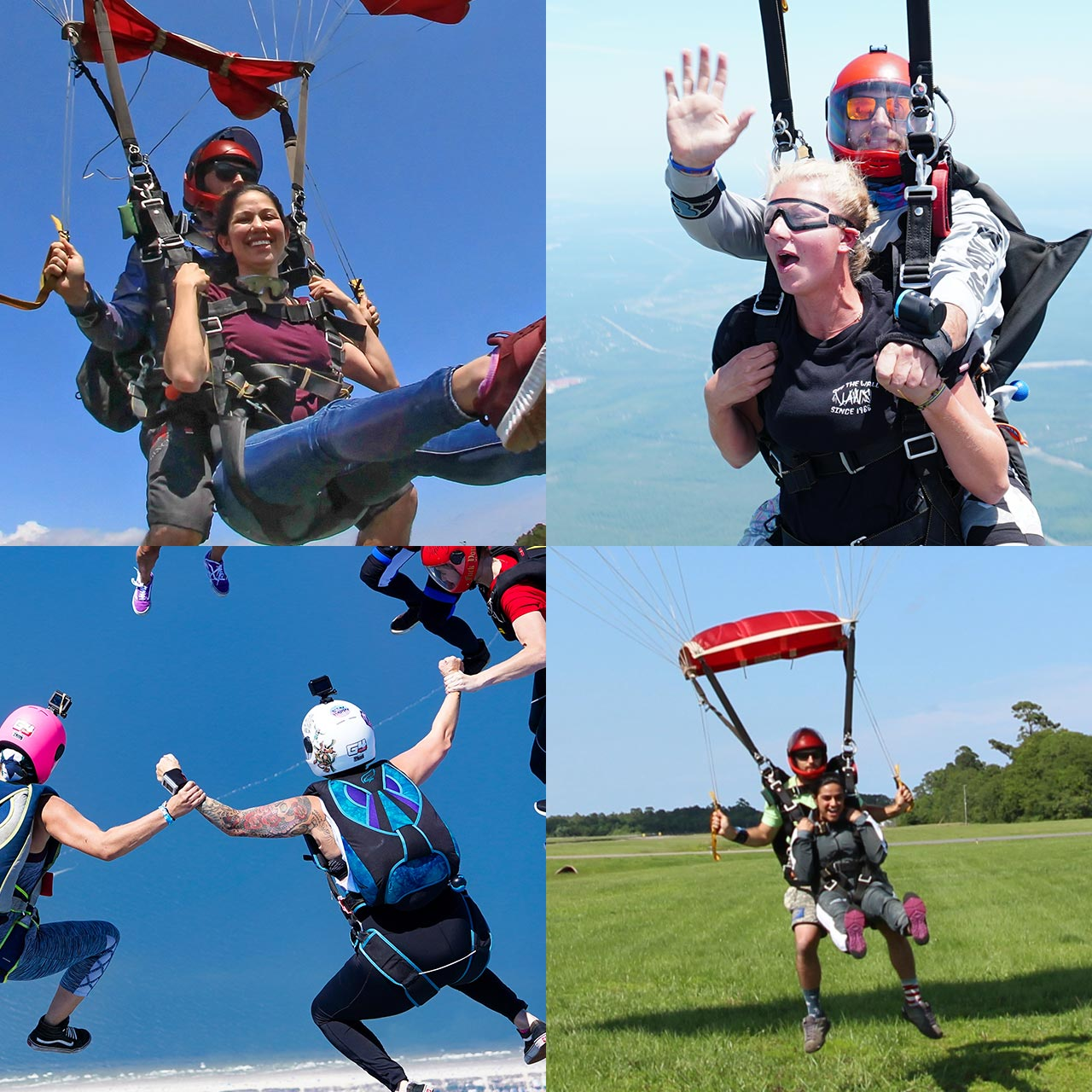 grid image of four separate skydiving shots three with tandem skydivers and one with licensed skydiver sin head up orientation