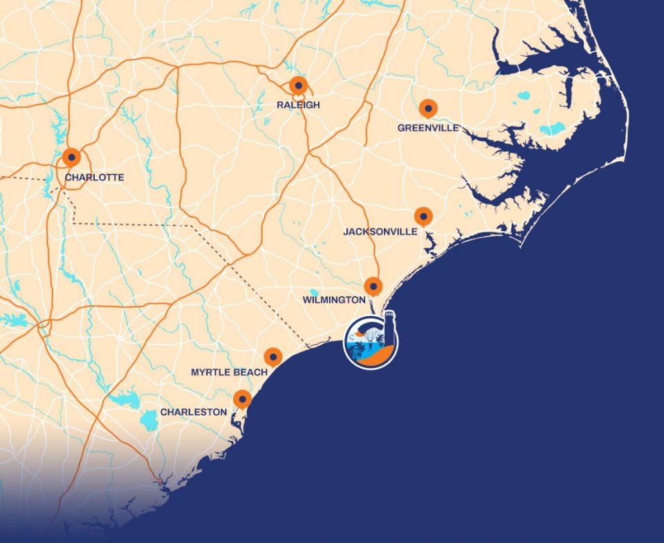 Skydive Coastal Carolina logo indicating position on map of NC
