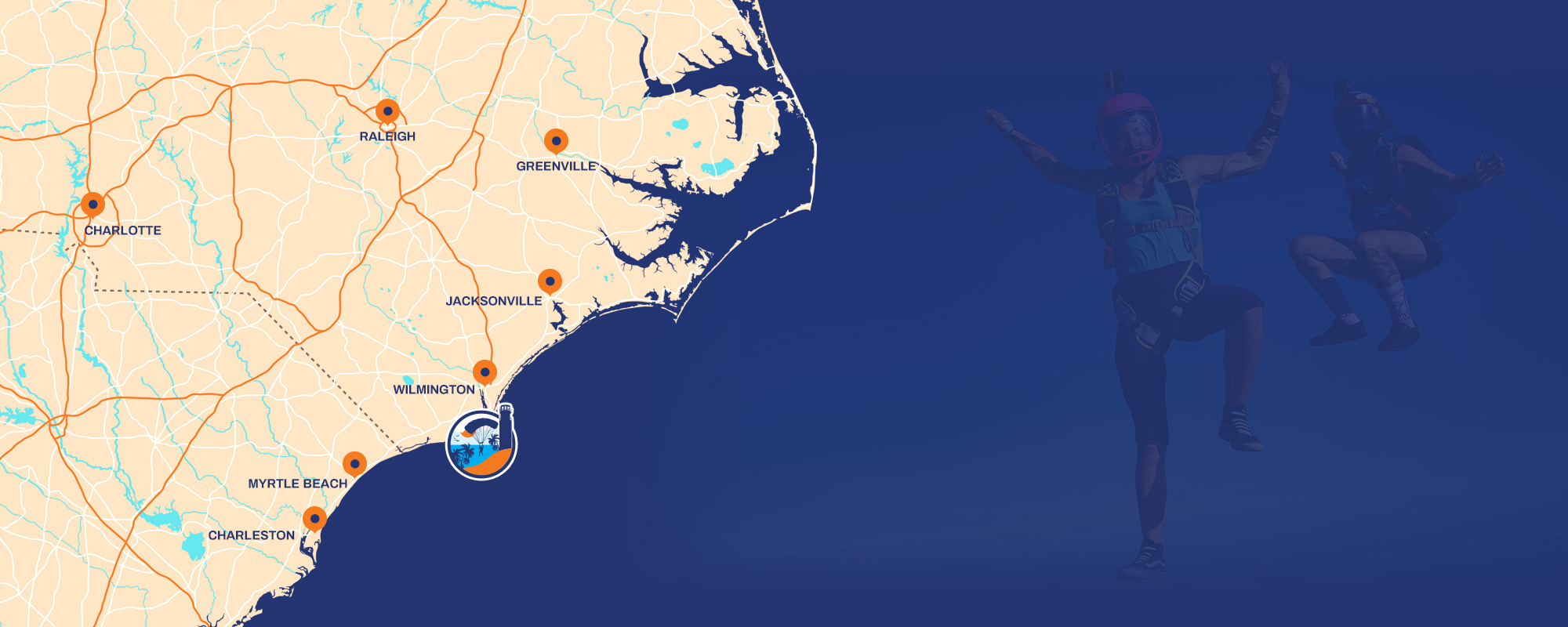 Skydive Coastal Carolina logo indicating position on map of NC with faint overlayed image of two skydivers freeflying